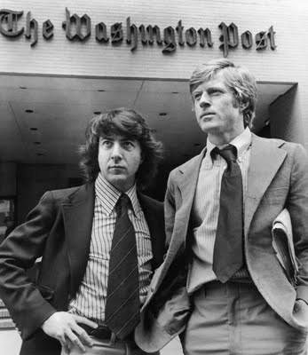 Huffman y Redford como  los periodistas Bob Woodward y Carl Bernstein