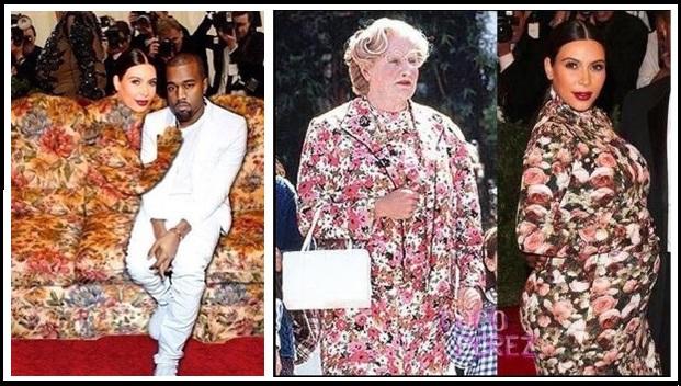 Estas fueron dos de las imágenes que más le dieron 'palo' a la pobre Kim. Imagen tomada de internet / EN EL NOMBRE DE LA MODA