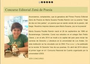 Maria Susana premio poesia Zenu