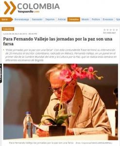 Fernando Vallejo Las jornadas por la paz son una farsa