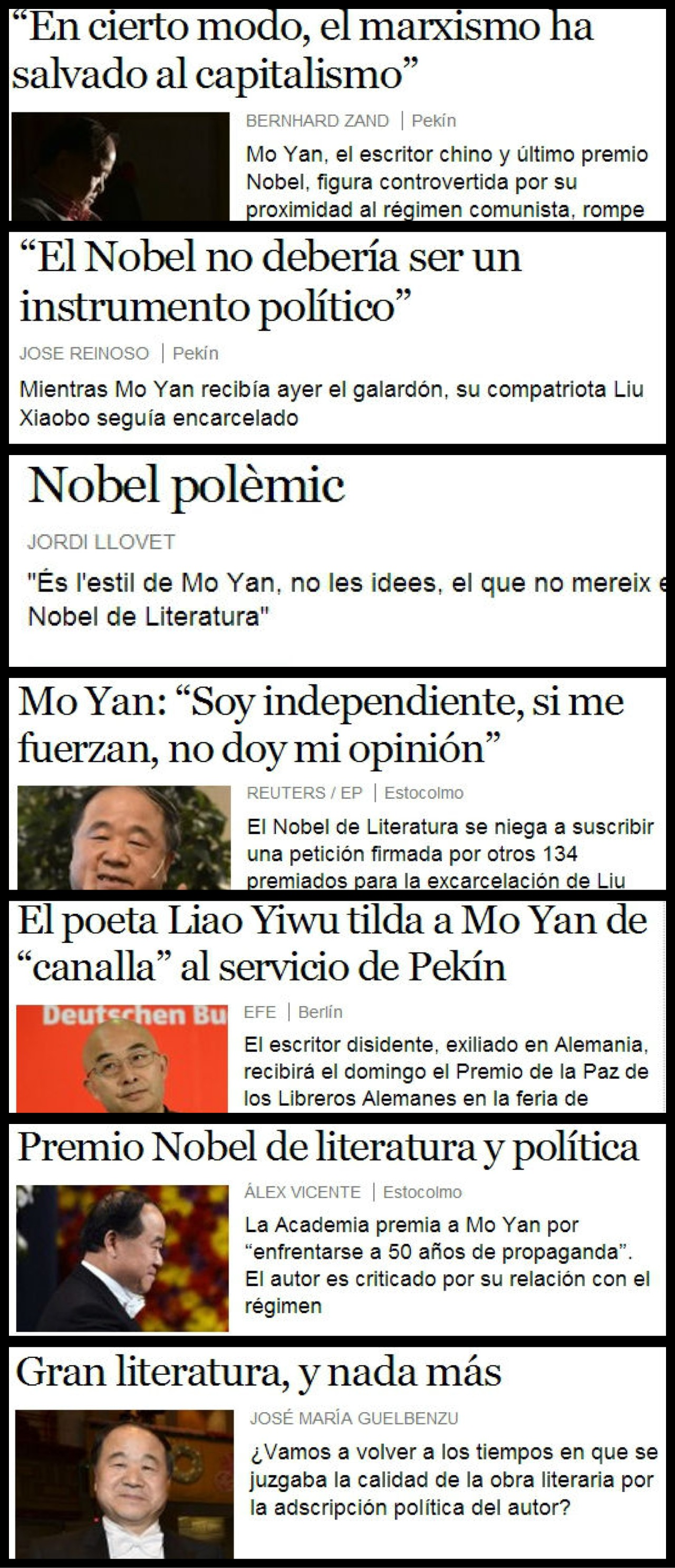 Diversas reacciones generó la entrega del Nobel a este escritor chino.