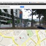 Vista del Nou Camp, combinando Mapa y Fotos desde la Calle.