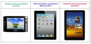 Gráfico de Apple en donde sugieren la copia del iPad por parte de Samsung en el diseño de sus tabletas. (Tomada de la demanda)